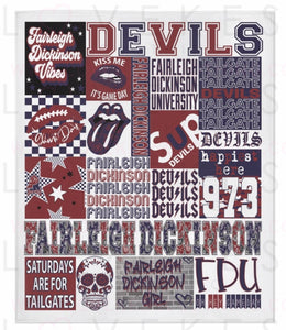 Fairleigh Dickinson University College Spirit Custom Fleece Blanket by LoveKess Clothing - lovekess - clothing