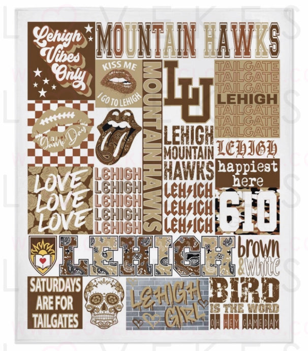 Lehigh University College Spirit Custom Fleece Blanket by LoveKess Clothing - lovekess - clothing
