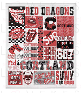 SUNY Cortland College Spirit Custom Fleece Blanket by LoveKess Clothing - lovekess - clothing