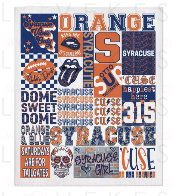 Syracuse University College Spirit Custom Fleece Blanket by LoveKess Clothing - lovekess - clothing