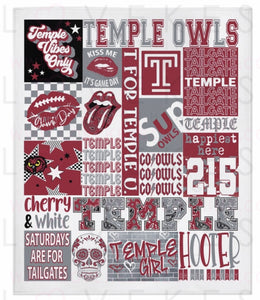 Temple University College Spirit Blanket by LoveKess Clothing - lovekess - clothing