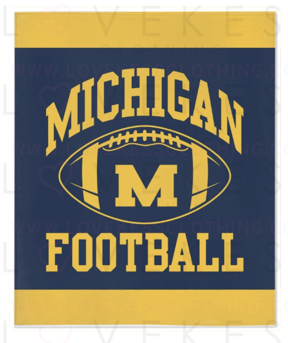 University of Michigan Boys Custom College Fleece Blanket by LoveKess Clothing - lovekess - clothing