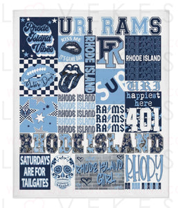 University of Rhode Island College Spirit Custom Fleece Blanket by LoveKess Clothing - lovekess - clothing