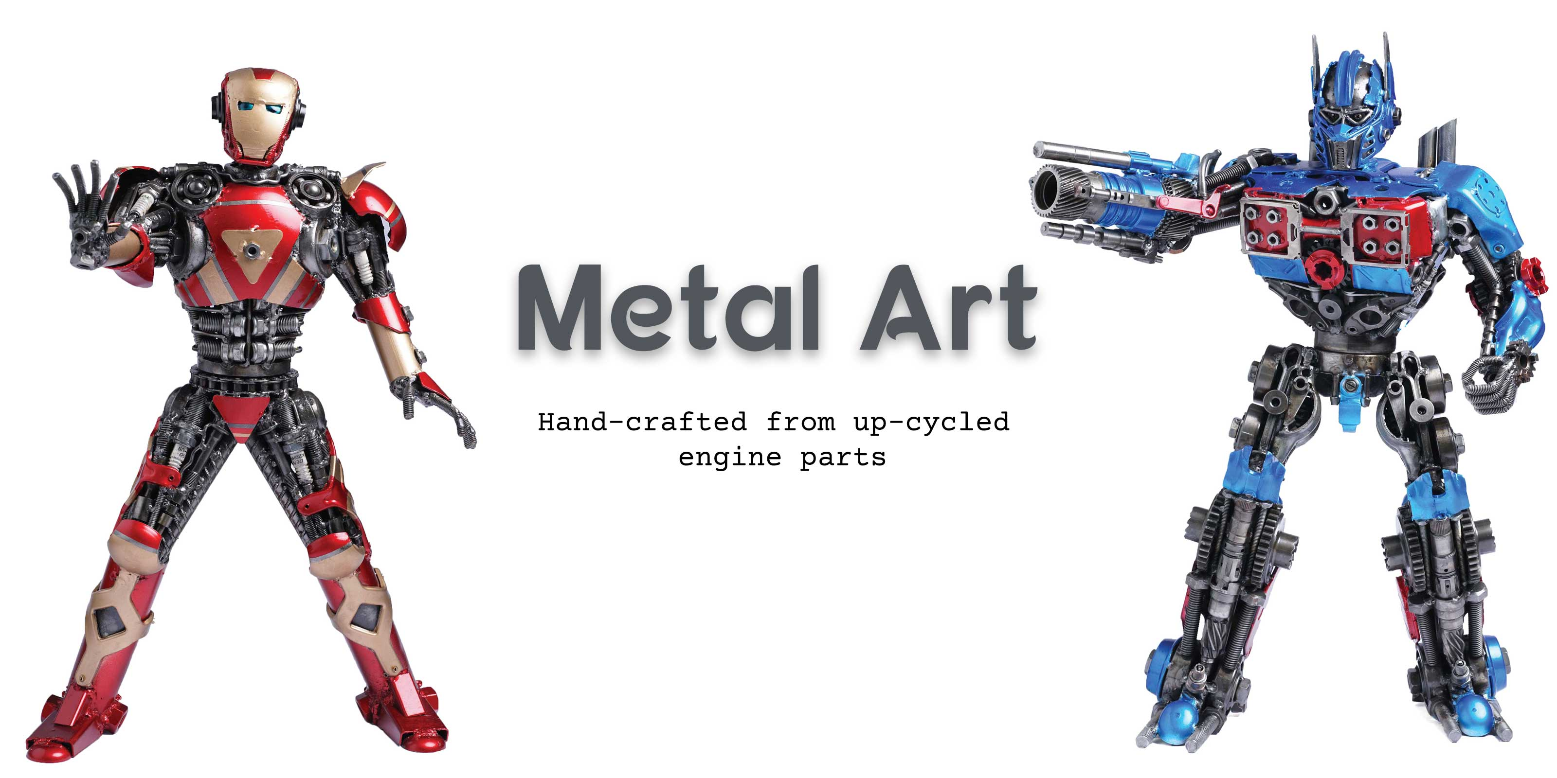Metal art hand-crafted from car and bike parts