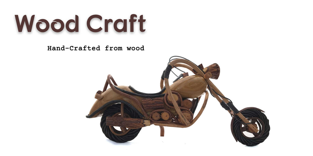 miniature Cruiser motorcycle and vespa scooter handcrafted from wood