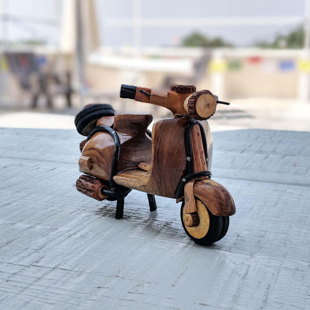 Miniature Vespa scooter hand-crafted from wood