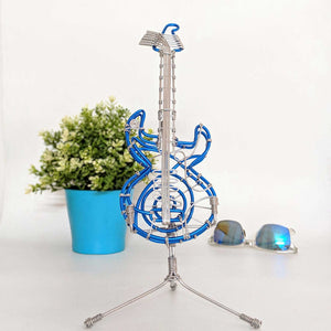 Miniature Wire Art Guitar hand-crafted from aluminium wire