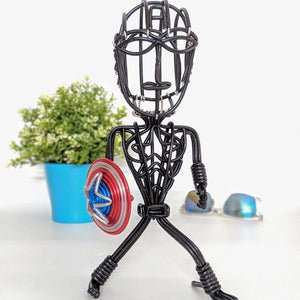 hand-crafted Wire-art Captain america figurine