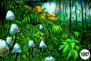 UV Glow Painting Jungle Scenery Green
