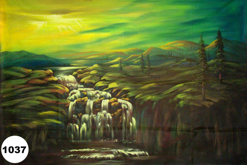 UV Glow Painting Waterfall Scenery