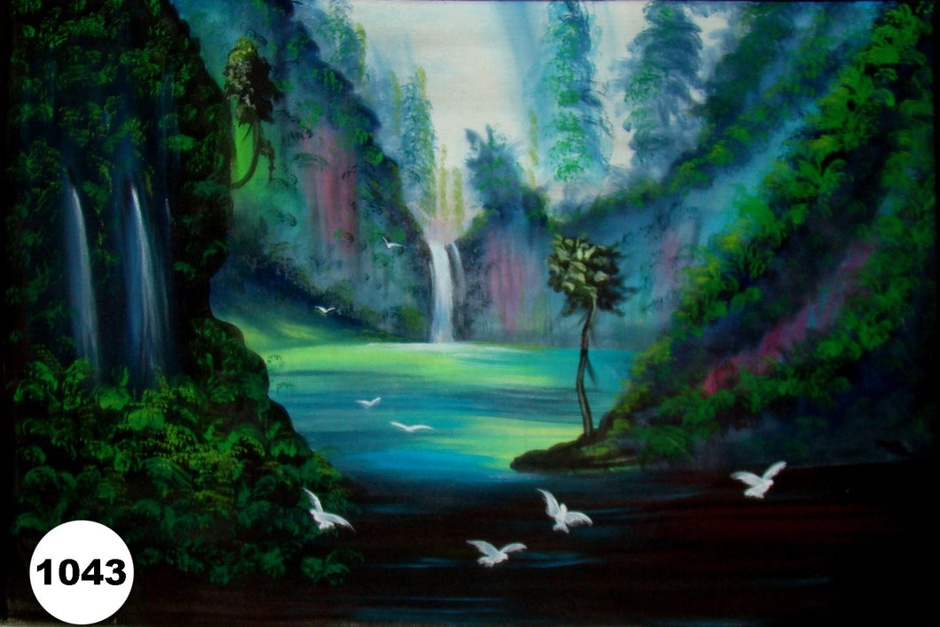 UV Glow Painting Jungle Water Scenery