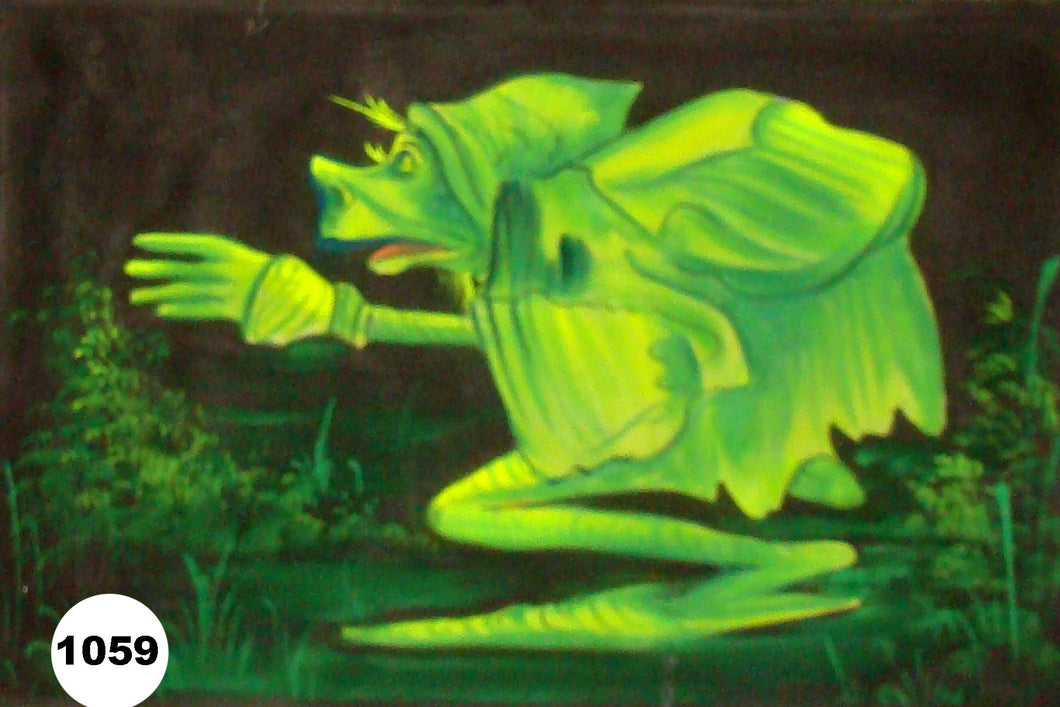 UV Glow Painting Green Frog Alien