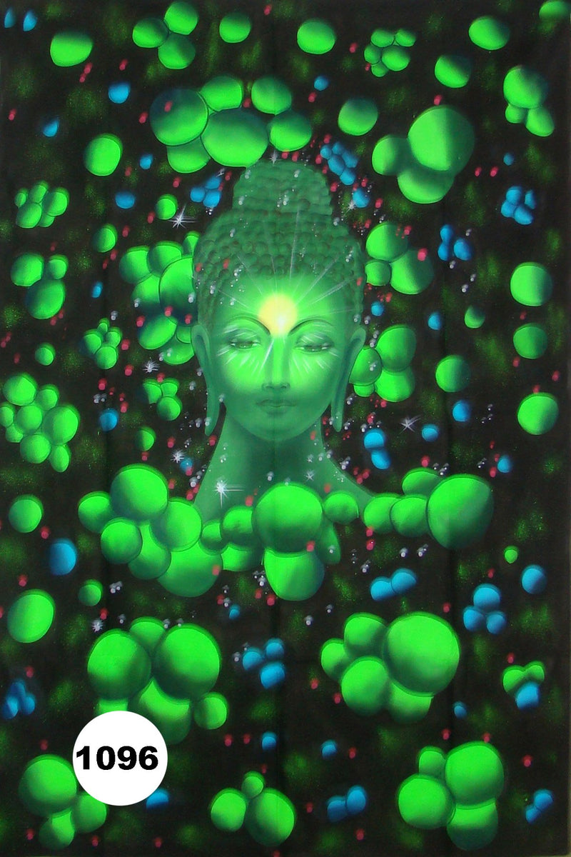 UV Glow Painting Lord Buddha Head with Green Floating Balls