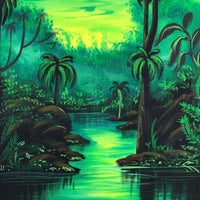 UV Glow Jungle Scenery painting made from fluorescent colors