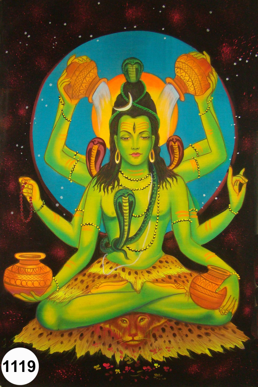 UV Glow Painting Lord Shiva Multiple Hands