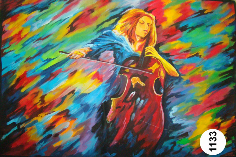 UV Glow Painting Women Violin Abstract