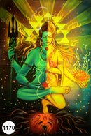 UV Glow Painting Lord Shiva and Parvati Fusion