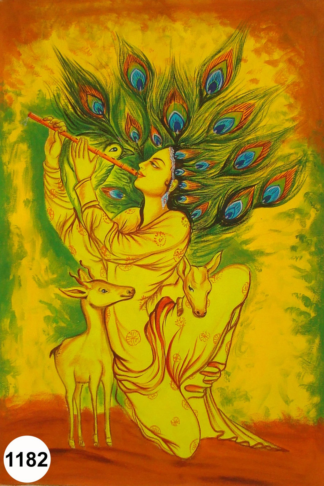 UV Glow Painting Lord Krishna with Deer