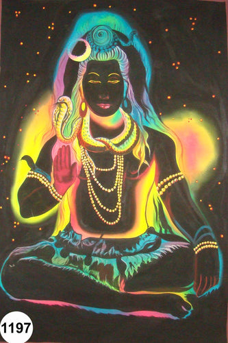UV Glow Painting Lord Shiva Meditation