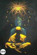 UV Glow Painting Monk Meditation with Buddha