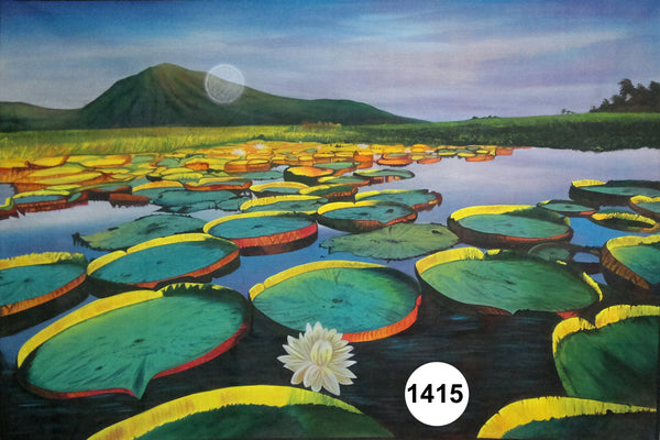 UV Glow Painting Pond Scenery