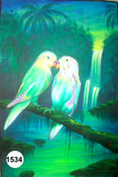 UV Glow Painting Two Birds Kissing