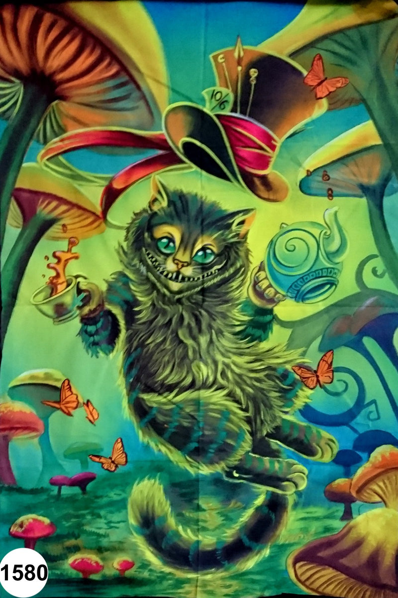UV Glow Painting Cat in Mushroom Land
