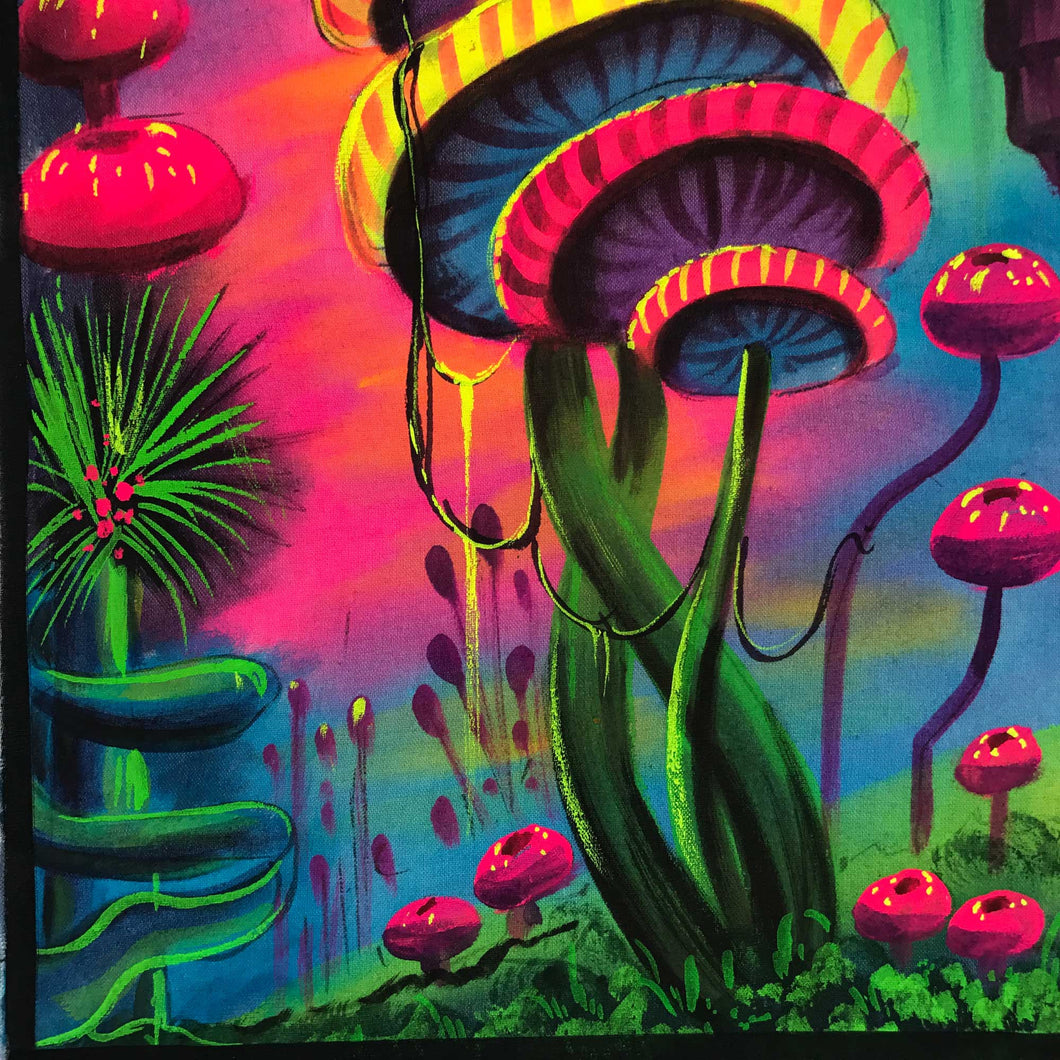 UV Glow Mushroom painting made from fluorescent colors