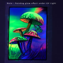 Load image into Gallery viewer, UV Glow Mushroom painting made from fluorescent colors