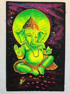 UV Glow Lord Ganesh Green painting made from fluorescent colors
