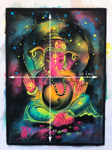 UV Glow Lord Ganesh Colors painting made from fluorescent colors