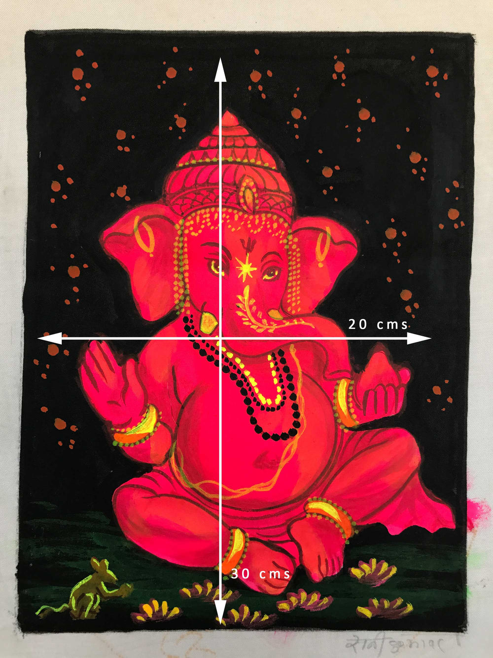 UV Glow Lord Ganesh Pink painting made from fluorescent colors