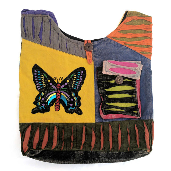 Cotton Shoulder Bag with embroidered butterfly