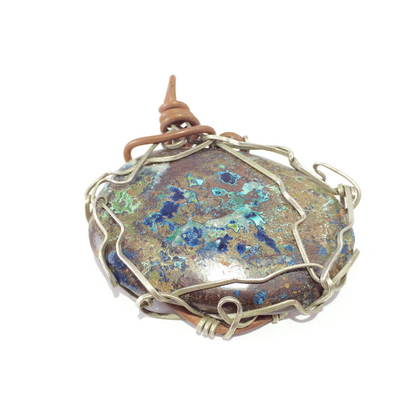 Pendant handcrafted from azurite stone, copper and brass wire