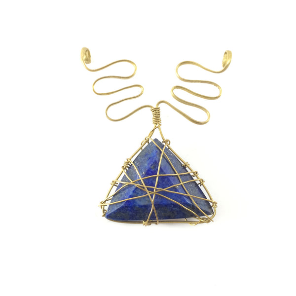 Handcrafted pendant from brass wire and blue lapis stone