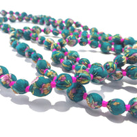 Beads necklace handcrafted from wooden beads wrapped with recycled silk saree