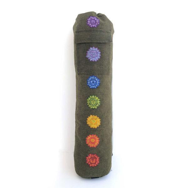 Yoga Mat Bag Chakras Green with hand-embroidery