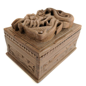 Wooden Secret Box made from Walnut Wood with dragon design