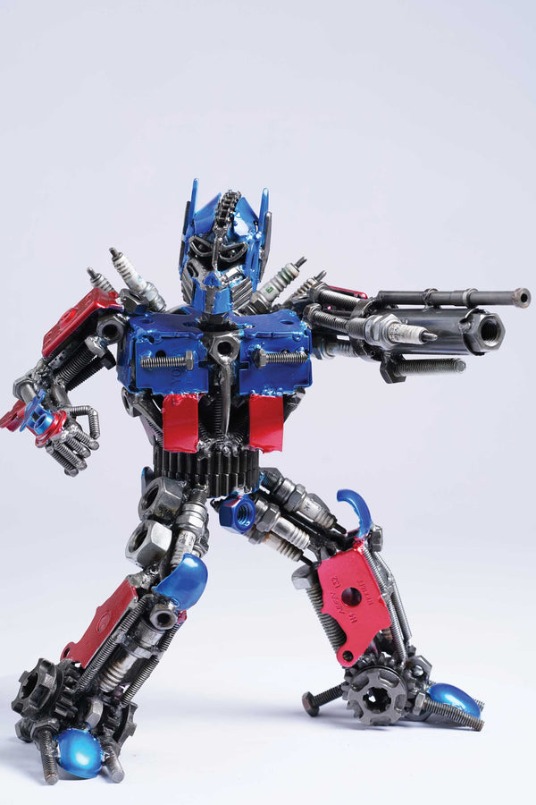 Transformers Optimus Prime metal action figure hand-crafted from junk auto parts with attention to detail