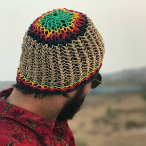 Hemp Beanie made from HEMP with rasta design