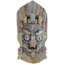 Load image into Gallery viewer, Guardian Bhairav Wooden Wall Mask with Metal work