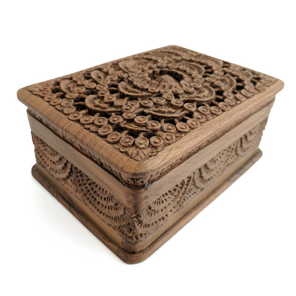 Wooden Secret Box made from Walnut Wood with circular design pattern