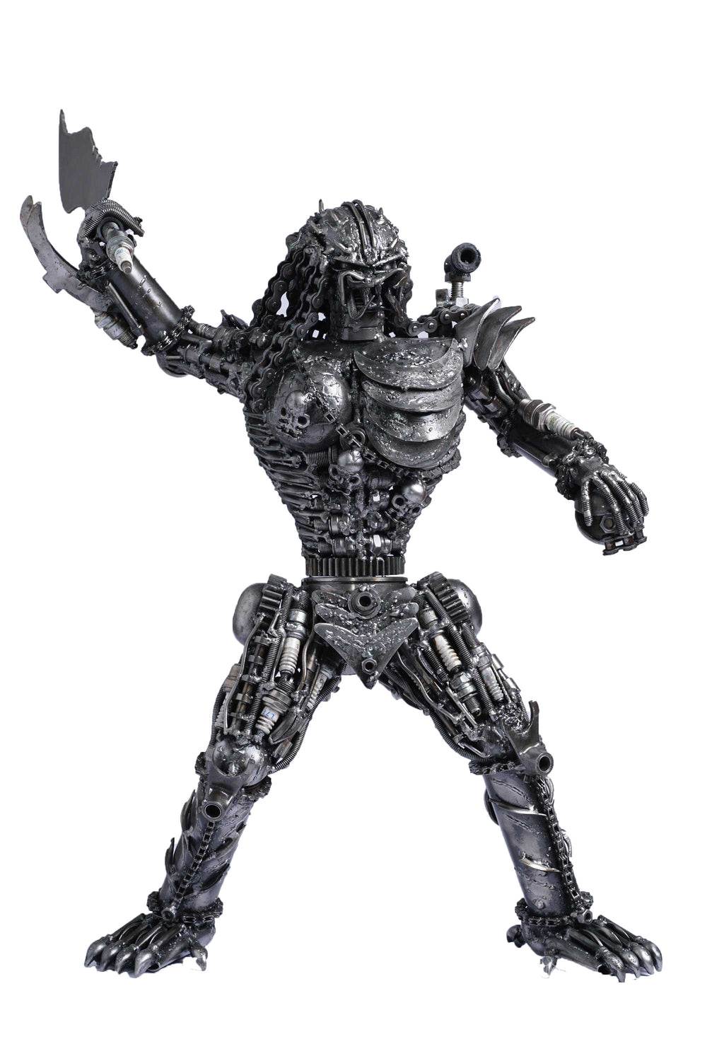 Predator metal action figure hand-crafted from junk auto parts