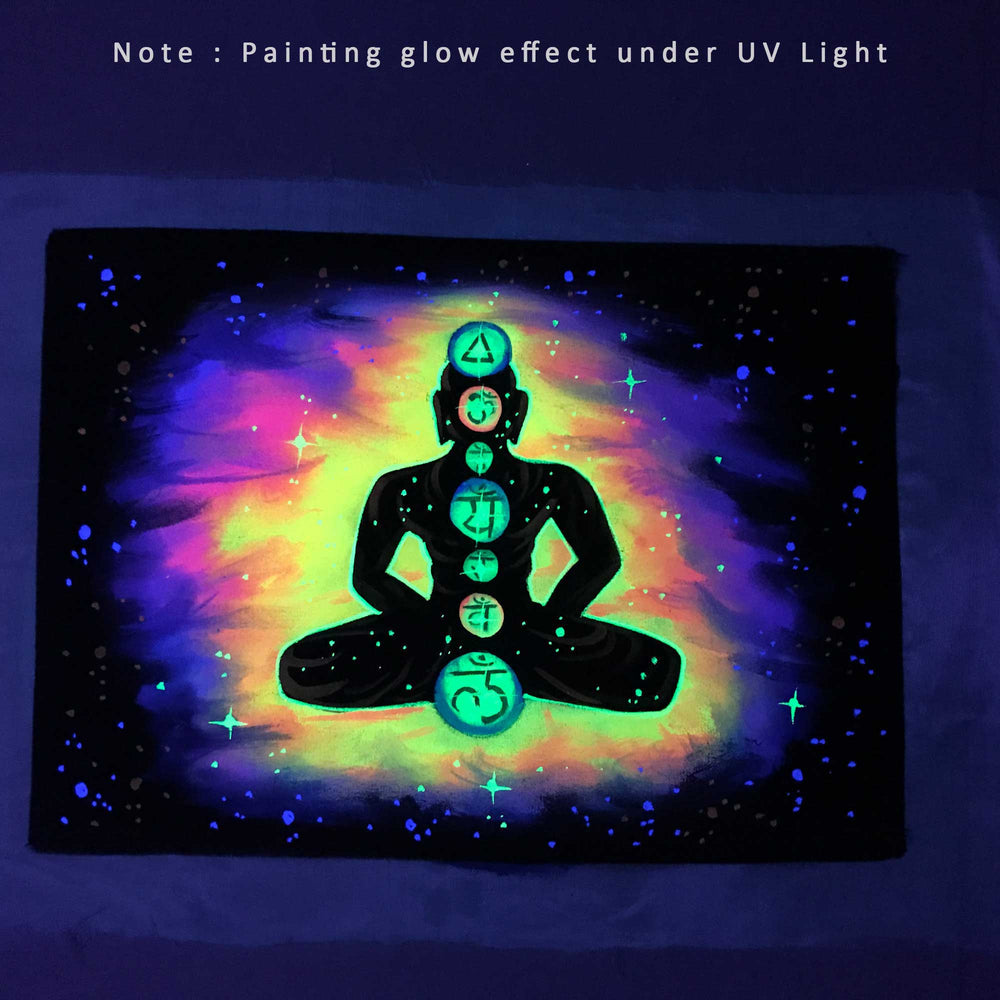 UV Glow Chakra Meditation painting made from fluorescent colors