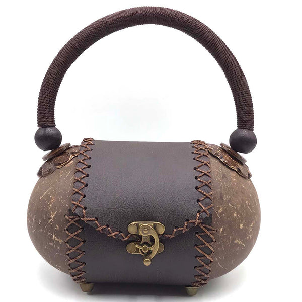 Handbag hand-crafted from coconut shells