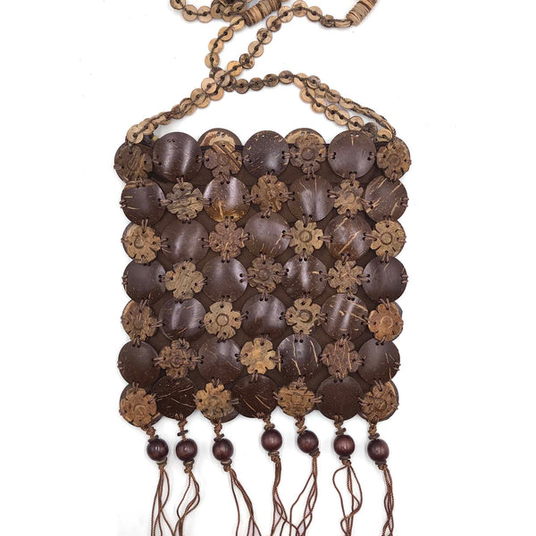 Sling bag hand-crafted from coconut shells