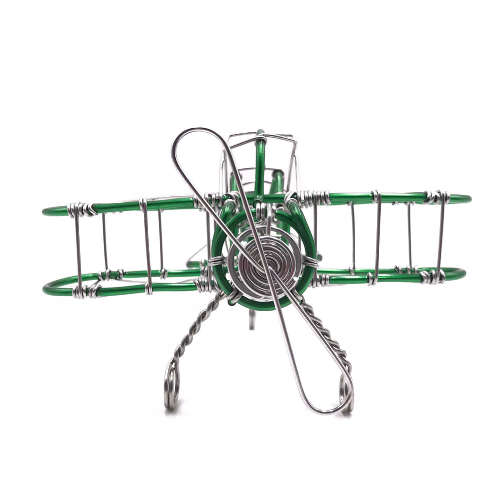 Miniature Wire Art Airplane hand-crafted from aluminium wire