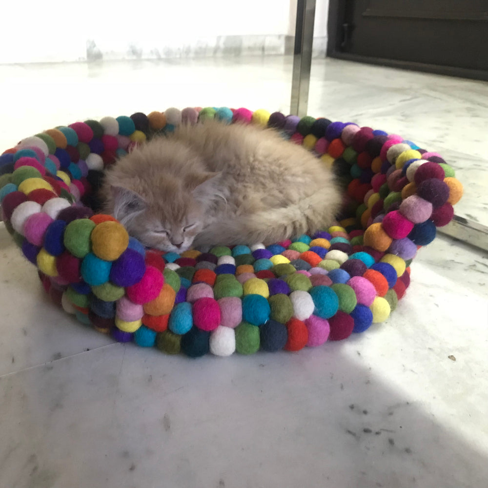 Pet Bed hand-crafted from Felt wool Balls.
