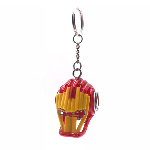 Miniature Wire art Iron Man Head Keychain hand-crafted from aluminium wire