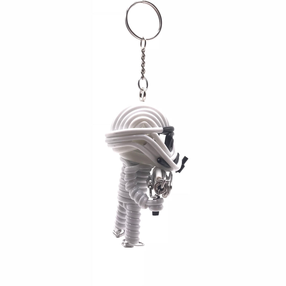 Miniature Wire Art storm trooper Keychain hand-crafted from aluminium wire